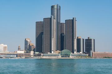 Corporate headquarters building of General Motors in Detroit, Michigan