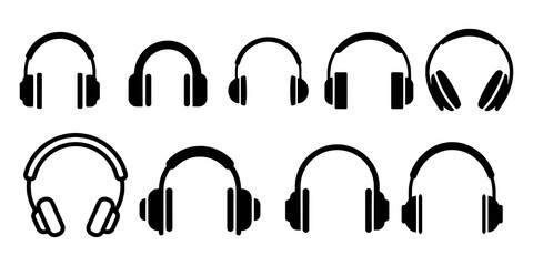 Headphones music listen speakers headset icons set