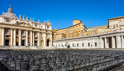 On St. Peter's Square at St. Peter's Basilica in the Vatican City in Rome