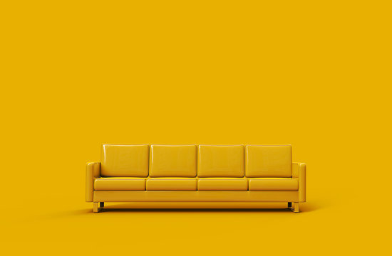 Yellow leather sofa isolated on yellow background. 3d rendering