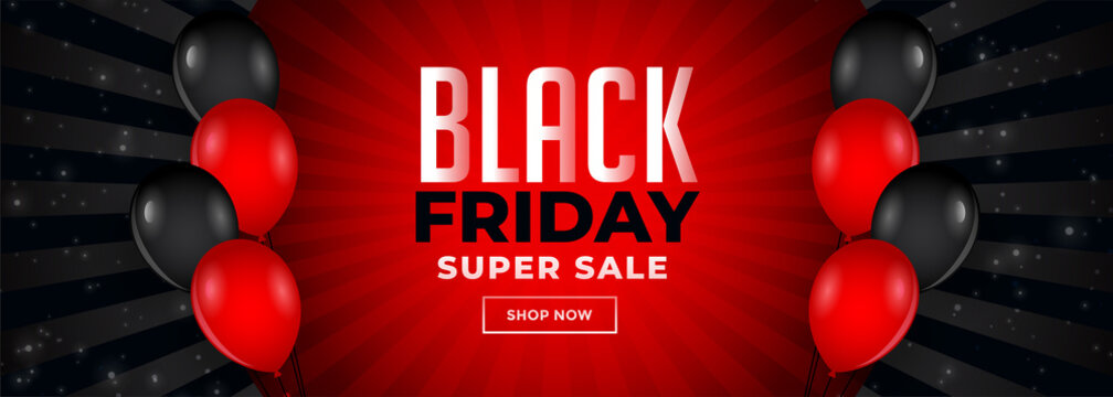 red and black friday sale banner with balloons