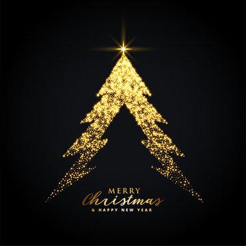 golden glowing merry christmas tree creative design