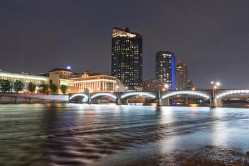 Night Skyline of Grand Rapids, Michigan along the Grand River