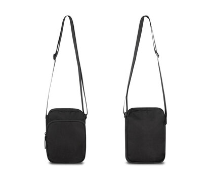 Black pocket bag isolated on white background with clipping path.