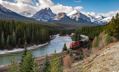 Train in the Valley at Morant's Curve in Banff Canada Wall mural