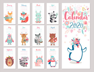 Wall Mural - Calendar 2020 with Boho Woodland characters. Cute forest animals.