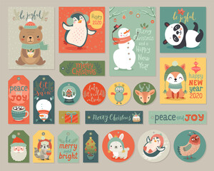 Wall Mural - Christmas cards and gift tags set with animals.