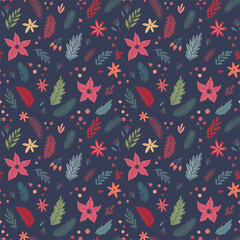 Wall Mural - Christmas Seamless floral pattern, hand drawn decorative elements.