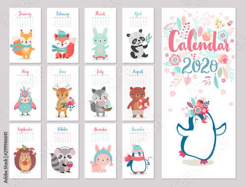 Wall mural Calendar 2020 with Boho Woodland characters. Cute forest animals.
