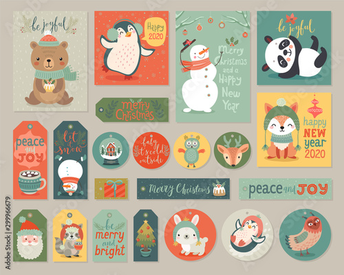 Wall mural Christmas cards and gift tags set with animals.