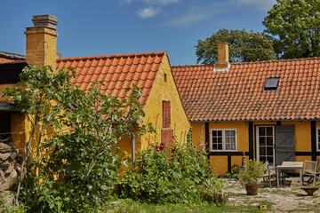 Traditional colorful half-timbered houses on Bornholm island in Svaneke Denmark