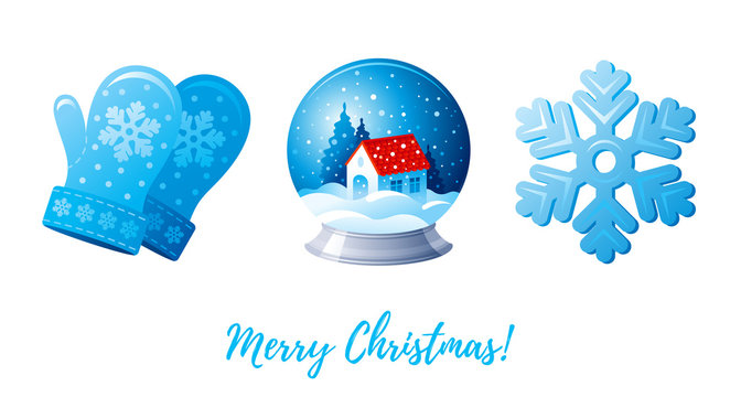 Christmas icon set. Cartoon snowflake, snowglobe, knitted mittens. Blue glossy color. Cute greeting card design element. Xmas vector illustration isolated on white background. Merry Christmas