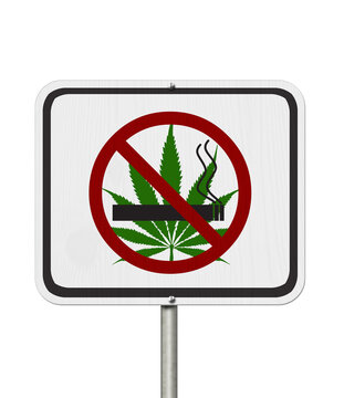 No smoking weed white road sign with a joint, cannabis leaf and forbidden icon