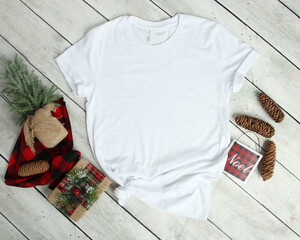 Mockup of a White T-Shirt Blank Shirt Template Photo with Christmas accessories