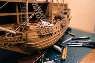 Wall Murals Ship the manufacturing process of a wooden model of an old sailing ship
