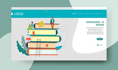 Knowledge power web page template books pile