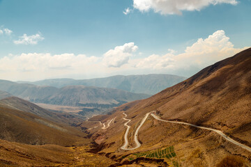 Winding road between mountains in Jujuy, Argentina