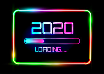 Happy new year 2020 with loading icon blue neon style. Progress bar almost reaching new year's eve. Vector illustration with 2020 loading. Isolated or colourful neon sign frame background