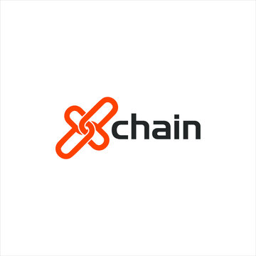 X chain ambigram letter logo concept