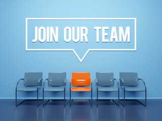 Join our team text word on blue wall waiting room