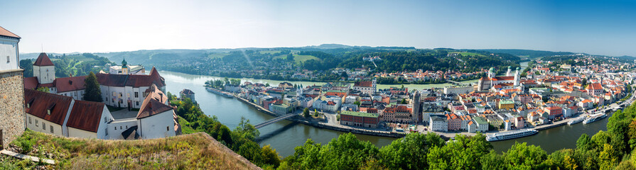 Landmarks of Germany -Passau. city view with Veste Oberhaus castle