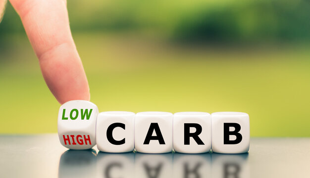 "Hand turns a dice and changes the expression from ""high carb"" to ""low carb""."