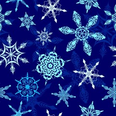 Fotobehang Draw Snowflakes on Winter Blue Night Background Vector Seamless Pattern