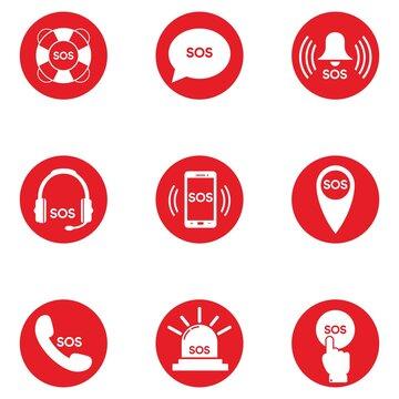 SOS vector icon big set. Alarm. red on white background