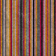 Carpet seamless pattern. Hand-drawn vertical stripes. Grunge texture. Ethnic and tribal motifs. Vector illustration.