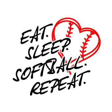 Eat sleep softball repeat vector files. Softball family design. Sports decor. Image on a transparent background.