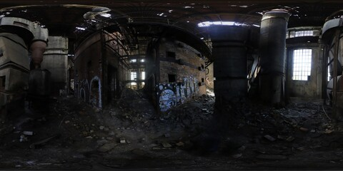 Poster Old abandoned buildings Abandoned Factory HDRI panorama