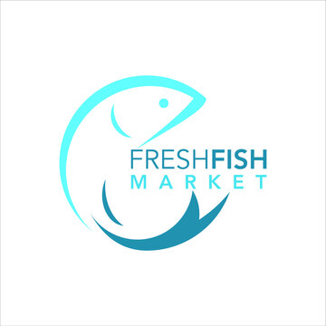 seafood logo abstract line fish vector simple modern silhouette for culinary design or icon template