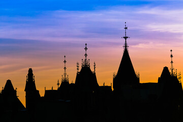 View of Canada parliament building in Ottawa during sunset. This photo is taken from MacKenzie King bridge above Rideau canal.