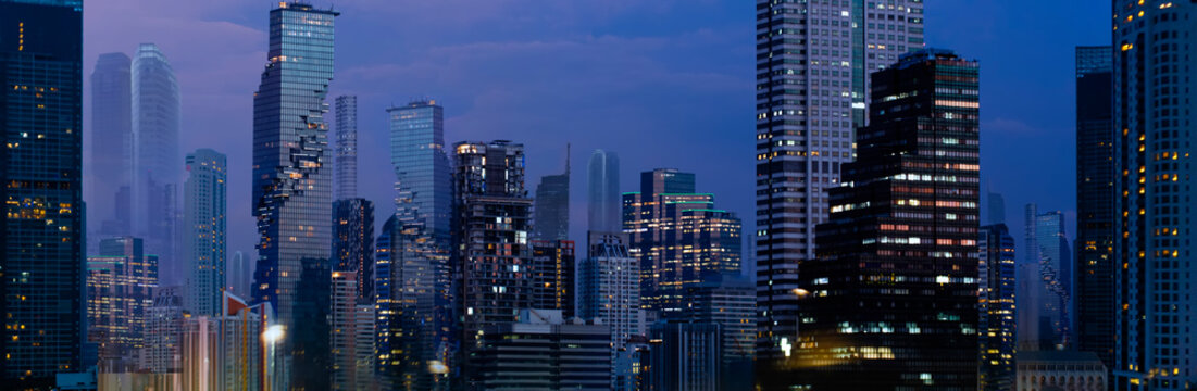 Smart Modern city night background and wireless communication network.