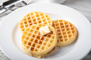 breakfast waffle image with coffee