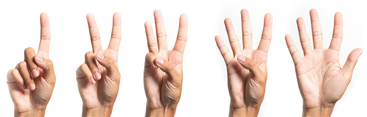 five fingers count signs isolated on white background with Clipping path included. Communication gestures concept  Fototapete