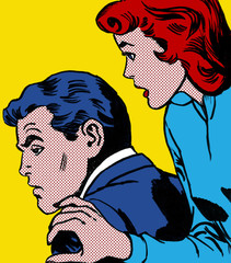 illustration of a couple in the style of 60s comic books, pop art