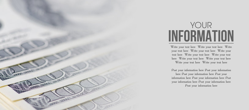 Dollars money cash finance macro blur background, space for text
