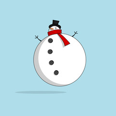 Vector of a chubby snowman with a huge round belly, tied with a red scarf and a black hat on a light blue background.