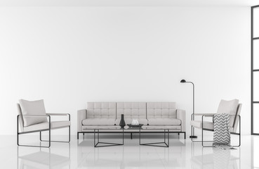 Minimal style modern white living room 3d render,decorate with white fabric and black metal furniture