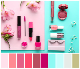 Set of decorative cosmetics and flowers on color background. Different color patterns