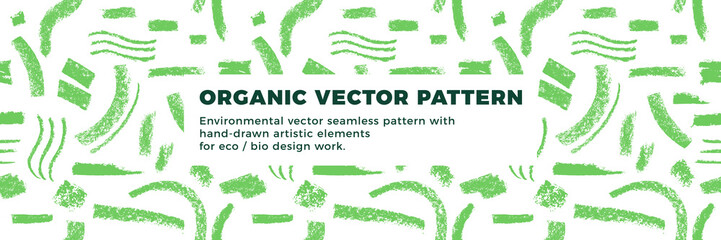 Organic seamless pattern vector background. Hand drawn natural elements with organic texture.  Eco friendly design, vector vegan icons, raw logo, eco farming banner template, healthy food emblem.