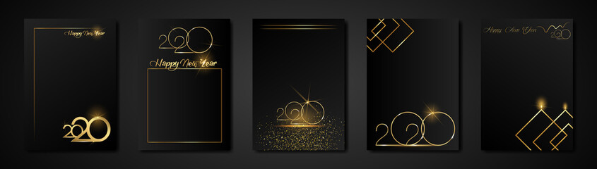 set cards 2020 Happy New Year gold texture, golden luxury black modern background, elements for calendar and greetings card or Christmas themed winter holiday invitations with geometric decorations Fototapete
