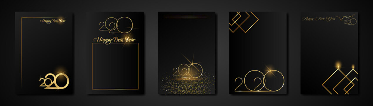 set cards 2020 Happy New Year gold texture, golden luxury black modern background, elements for calendar and greetings card or Christmas themed winter holiday invitations with geometric decorations
