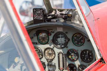 vintage plane cockpit, clock, altimeter