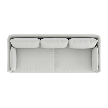 White cloth sofa top view on an isolated background. 3d rendering