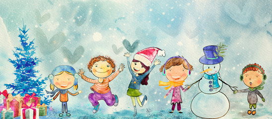Christmas time. Watercolor banner for children