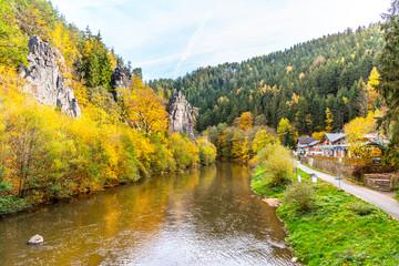 Fotobehang Meloen Svatos Rocks, Czech: Svatosske skaly, above Ohre River at autumn time, Czech Republic