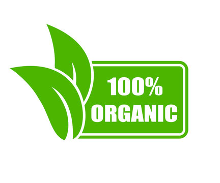 100 percent organic icon – stock vector