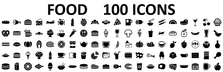 Food set 100 icons for menu, infographics, design elements – stock vector